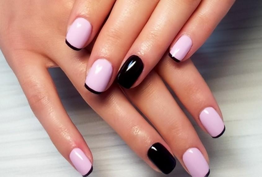 Черный френч для коротких ногтей фото